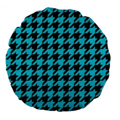 Houndstooth1 Black Marble & Turquoise Colored Pencil Large 18  Premium Flano Round Cushions by trendistuff