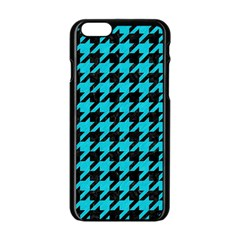 Houndstooth1 Black Marble & Turquoise Colored Pencil Apple Iphone 6/6s Black Enamel Case by trendistuff