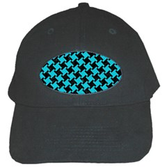 Houndstooth2 Black Marble & Turquoise Colored Pencil Black Cap by trendistuff