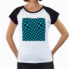 Houndstooth2 Black Marble & Turquoise Colored Pencil Women s Cap Sleeve T by trendistuff