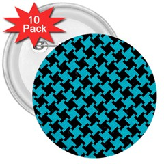Houndstooth2 Black Marble & Turquoise Colored Pencil 3  Buttons (10 Pack)  by trendistuff