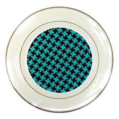 Houndstooth2 Black Marble & Turquoise Colored Pencil Porcelain Plates by trendistuff