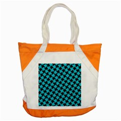 Houndstooth2 Black Marble & Turquoise Colored Pencil Accent Tote Bag by trendistuff
