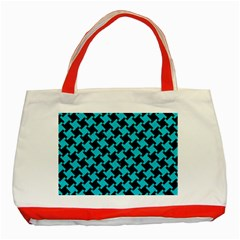 Houndstooth2 Black Marble & Turquoise Colored Pencil Classic Tote Bag (red) by trendistuff