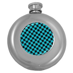 Houndstooth2 Black Marble & Turquoise Colored Pencil Round Hip Flask (5 Oz) by trendistuff
