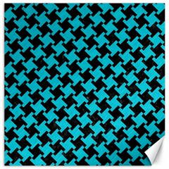Houndstooth2 Black Marble & Turquoise Colored Pencil Canvas 16  X 16   by trendistuff