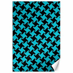 Houndstooth2 Black Marble & Turquoise Colored Pencil Canvas 20  X 30   by trendistuff