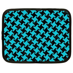 Houndstooth2 Black Marble & Turquoise Colored Pencil Netbook Case (large) by trendistuff