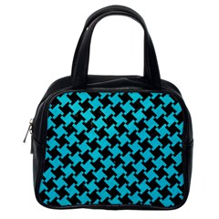 Houndstooth2 Black Marble & Turquoise Colored Pencil Classic Handbags (one Side) by trendistuff