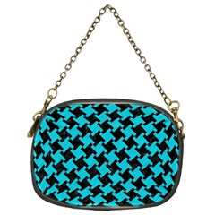 Houndstooth2 Black Marble & Turquoise Colored Pencil Chain Purses (two Sides)  by trendistuff