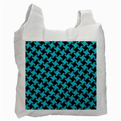 Houndstooth2 Black Marble & Turquoise Colored Pencil Recycle Bag (two Side)  by trendistuff