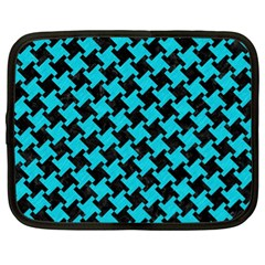 Houndstooth2 Black Marble & Turquoise Colored Pencil Netbook Case (xl)  by trendistuff