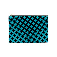 Houndstooth2 Black Marble & Turquoise Colored Pencil Cosmetic Bag (medium)  by trendistuff