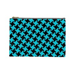 Houndstooth2 Black Marble & Turquoise Colored Pencil Cosmetic Bag (large)  by trendistuff