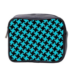 Houndstooth2 Black Marble & Turquoise Colored Pencil Mini Toiletries Bag 2 Side by trendistuff