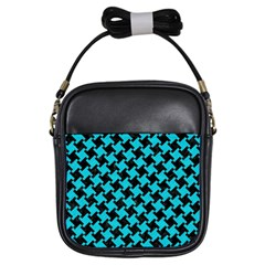 Houndstooth2 Black Marble & Turquoise Colored Pencil Girls Sling Bags by trendistuff