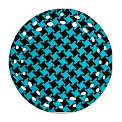 Houndstooth2 Black Marble & Turquoise Colored Pencil Ornament (round Filigree) by trendistuff