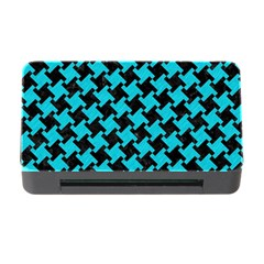 Houndstooth2 Black Marble & Turquoise Colored Pencil Memory Card Reader With Cf by trendistuff