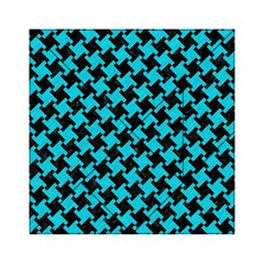 Houndstooth2 Black Marble & Turquoise Colored Pencil Acrylic Tangram Puzzle (6  X 6 ) by trendistuff