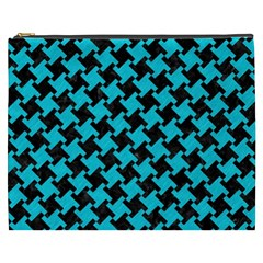Houndstooth2 Black Marble & Turquoise Colored Pencil Cosmetic Bag (xxxl)  by trendistuff