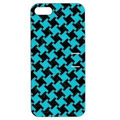 Houndstooth2 Black Marble & Turquoise Colored Pencil Apple Iphone 5 Hardshell Case With Stand by trendistuff