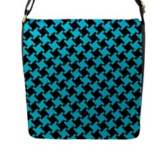 Houndstooth2 Black Marble & Turquoise Colored Pencil Flap Messenger Bag (l)  by trendistuff