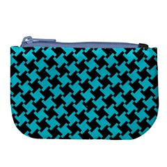 Houndstooth2 Black Marble & Turquoise Colored Pencil Large Coin Purse by trendistuff
