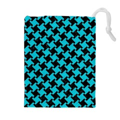 Houndstooth2 Black Marble & Turquoise Colored Pencil Drawstring Pouches (extra Large) by trendistuff