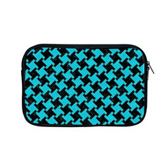 Houndstooth2 Black Marble & Turquoise Colored Pencil Apple Macbook Pro 13  Zipper Case by trendistuff