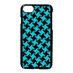 Houndstooth2 Black Marble & Turquoise Colored Pencil Apple Iphone 8 Seamless Case (black)