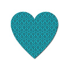 Hexagon1 Black Marble & Turquoise Colored Pencil Heart Magnet by trendistuff