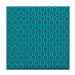 Hexagon1 Black Marble & Turquoise Colored Pencil Face Towel by trendistuff