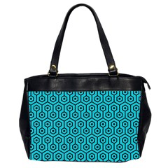 Hexagon1 Black Marble & Turquoise Colored Pencil Office Handbags (2 Sides)  by trendistuff