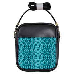 Hexagon1 Black Marble & Turquoise Colored Pencil Girls Sling Bags by trendistuff