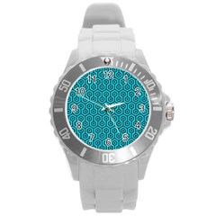 Hexagon1 Black Marble & Turquoise Colored Pencil Round Plastic Sport Watch (l) by trendistuff