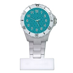 Hexagon1 Black Marble & Turquoise Colored Pencil Plastic Nurses Watch by trendistuff