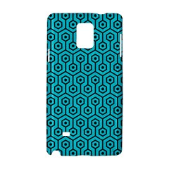 Hexagon1 Black Marble & Turquoise Colored Pencil Samsung Galaxy Note 4 Hardshell Case by trendistuff