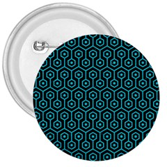 Hexagon1 Black Marble & Turquoise Colored Pencil (r) 3  Buttons by trendistuff