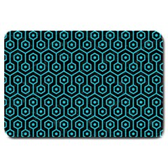 Hexagon1 Black Marble & Turquoise Colored Pencil (r) Large Doormat  by trendistuff