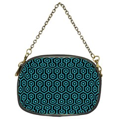 Hexagon1 Black Marble & Turquoise Colored Pencil (r) Chain Purses (one Side)  by trendistuff