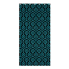 Hexagon1 Black Marble & Turquoise Colored Pencil (r) Shower Curtain 36  X 72  (stall)  by trendistuff