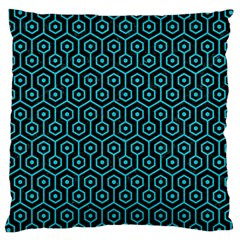 Hexagon1 Black Marble & Turquoise Colored Pencil (r) Large Cushion Case (two Sides) by trendistuff