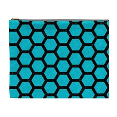 Hexagon2 Black Marble & Turquoise Colored Pencil Cosmetic Bag (xl) by trendistuff