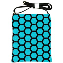 Hexagon2 Black Marble & Turquoise Colored Pencil Shoulder Sling Bags by trendistuff