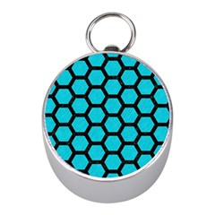 Hexagon2 Black Marble & Turquoise Colored Pencil Mini Silver Compasses by trendistuff