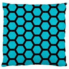 Hexagon2 Black Marble & Turquoise Colored Pencil Standard Flano Cushion Case (one Side) by trendistuff
