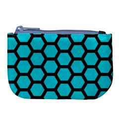 Hexagon2 Black Marble & Turquoise Colored Pencil Large Coin Purse
