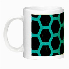 Hexagon2 Black Marble & Turquoise Colored Pencil (r) Night Luminous Mugs by trendistuff