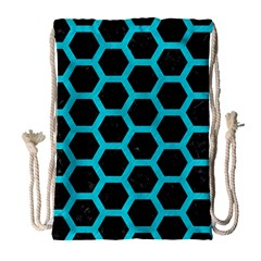 Hexagon2 Black Marble & Turquoise Colored Pencil (r) Drawstring Bag (large) by trendistuff