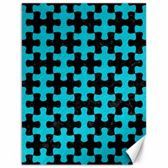 Puzzle1 Black Marble & Turquoise Colored Pencil Canvas 12  X 16   by trendistuff